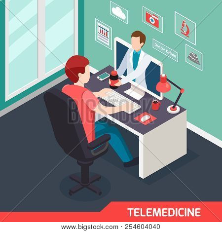 Modern Medical Technology Isometric Composition With Alternative Telemedicine Service Virtual Doctor