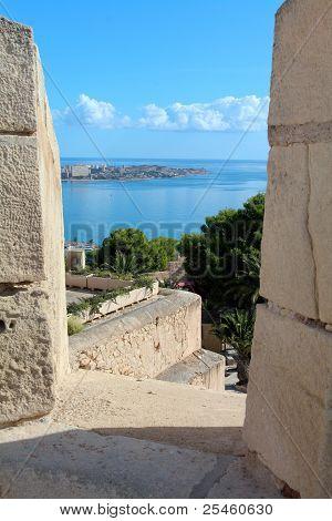 Mediterranean framed by Castle Santa Barbara