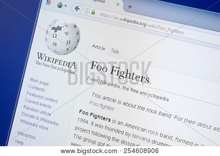 Ryazan, Russia - August 19, 2018: Wikipedia Page About Foo Fighters On The Display Of Pc