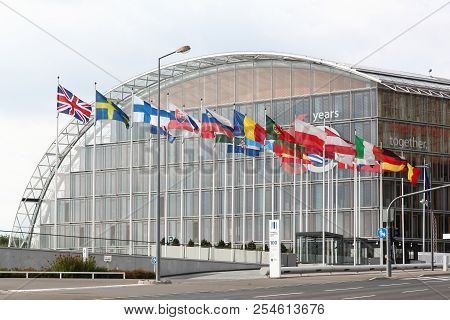 Kirchberg, Luxembourg - July 21, 2018: European Investment Bank Building In Luxembourg. The European