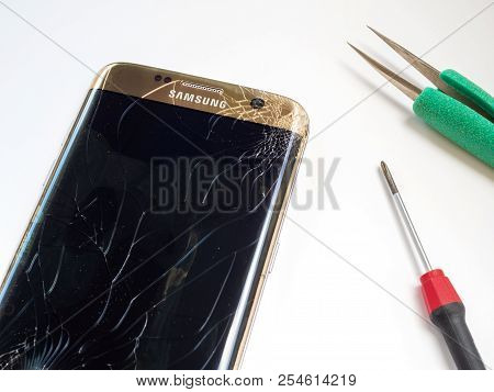 Chiangrai, Thailand: September 20, 2017 - Smart Phone Samsung Galaxy S7 Edge Broken And Cracked Scre
