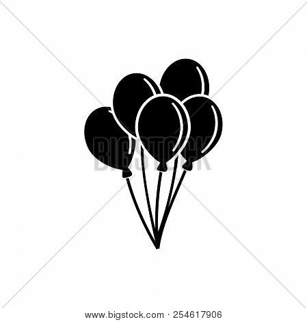 Air Balloon, Bunch Of Balloons. Flat Vector Icon Illustration. Simple Black Symbol On White Backgrou
