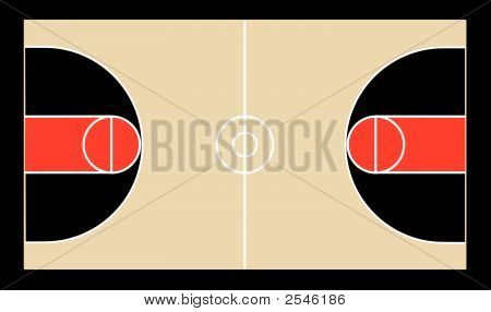 A vector illustration of a basketball court and all of its court markings poster