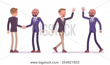 Male friends greeting vector photo free trial bigstock male friends greeting men handshake and high five gesture showing respect and agreement m4hsunfo