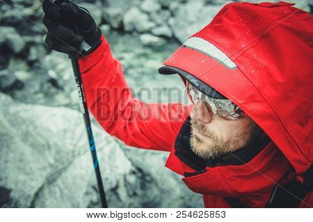 Mountaineering Theme With Caucasian Men On The Trailhead. High Mountain Climber