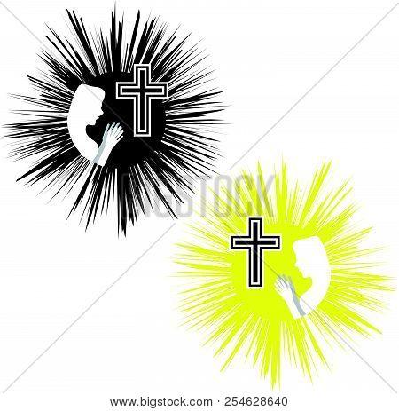 Christian Cross With Women. Faith And Religion. Vector Illustration