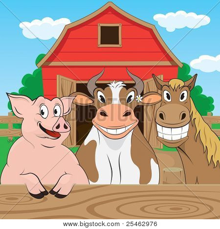 Vector illustration of pigs cows and horses