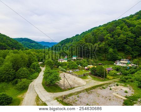 Drone View Of Zubova Schel Village In The Valley Of The Chemitokvadzhe Microdistrict In Overcast Sum