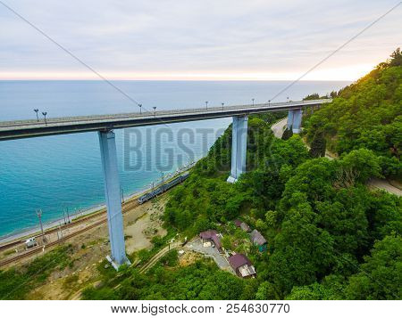 Drone View Of The Zubova Schel Viaduct And Mountainside With Forest On The Background Of The Sea In