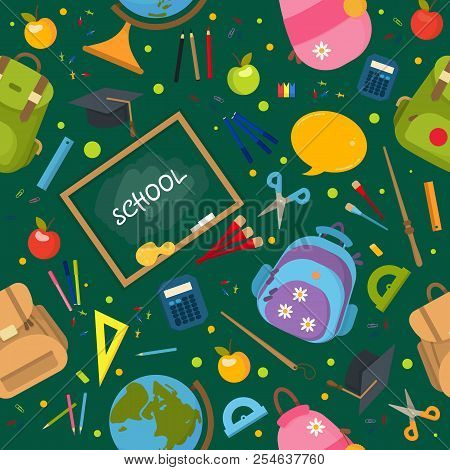 Welcome Back To School Pattern. School Background. Vector Illustration Pattern. Typography Emblem. B