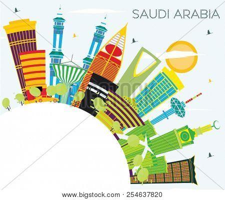 Saudi Arabia Skyline with Color Landmarks, Blue Sky and Copy Space. Mecca, Riyadh. Business Travel and Tourism Concept. Saudi Arabia Cityscape with Landmarks.