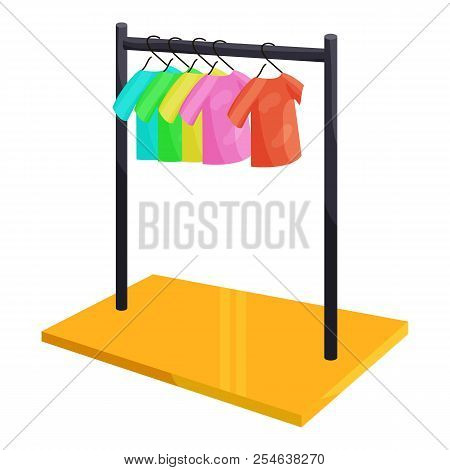 Clothes Hanging On The Rack Icon. Cartoon Illustration Of Clothes Hanging On The Rack Icon For Web