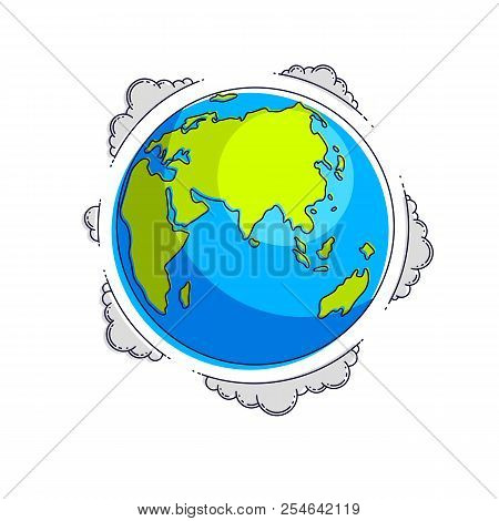 Planet Earth Vector Illustration Isolated On White Background, Africa, Europe, Eurasia, Asia And Aus