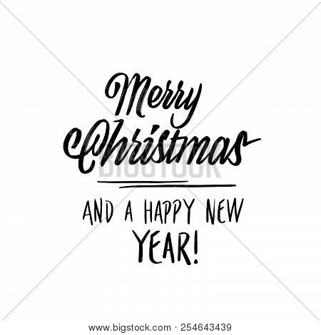 Merry Christmas New Year Lettering. Hand Drawn Calligrphic Vector Sketch.