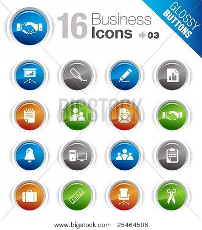 Glossy Buttons - Office and Business icons