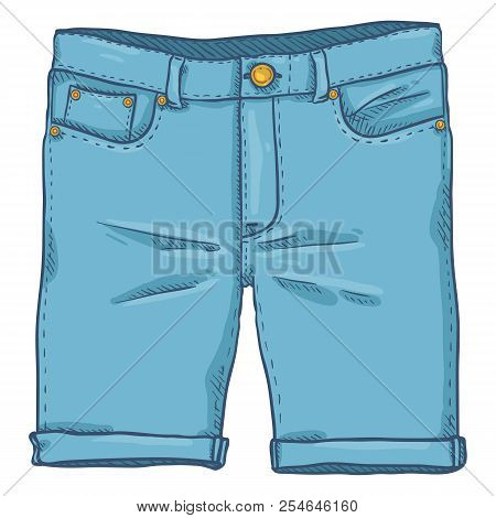 Vector Cartoon Illustration - Blue Denim Jeans Shorts
