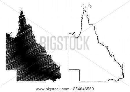 Queensland (australian States And Territories, Qld) Map Vector Illustration, Scribble Sketch Queensl