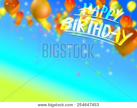 Birthday Card With Copy Space. Hand Drawn Lettering On 3d Background Rendering.