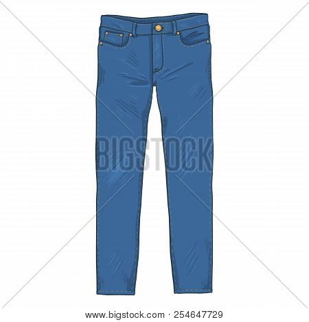 Vector Cartoon Illustration - Denim Jeans Pants. Front View.