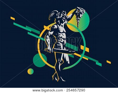 Perseus with the head of Medusa. Vector emblem. poster