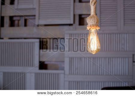 Lamps With Tungsten Filament. Edison Light Bulb. Filament Filament In Vintage Lamps. Retro Design Of