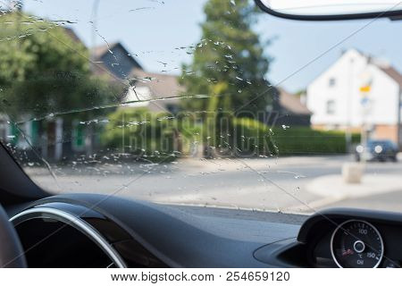 Windscreen Of A Car Cleaned With Water