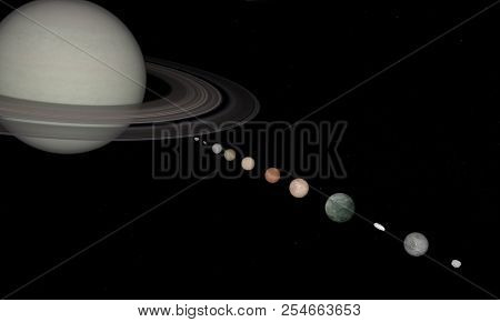 3d Rendering Of The Planet Saturn Closeup With Stars On Background.3d Rendering Of The Planet Saturn