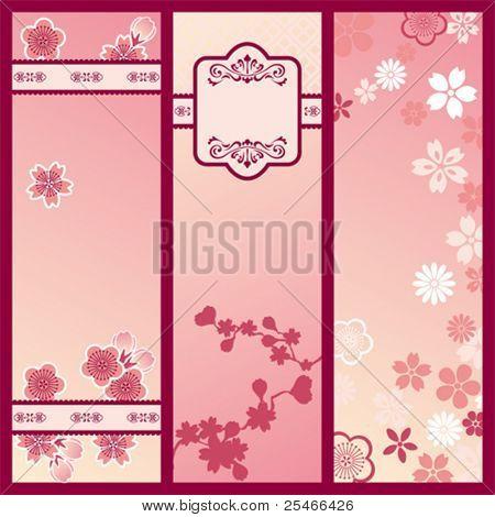 Cherry blossom banners. Illustration vector.