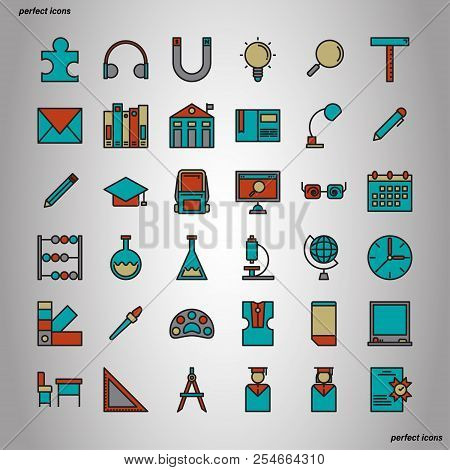 Education And Learning Color Line Icons Perfect Pixel. Use For Website, Template,package, Platform.