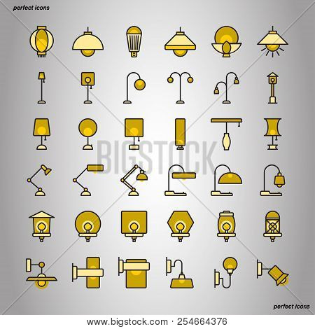 Lamp Color Line Icons Perfect Pixel. Use For Website, Template,package, Platform. Concept Object Ui,