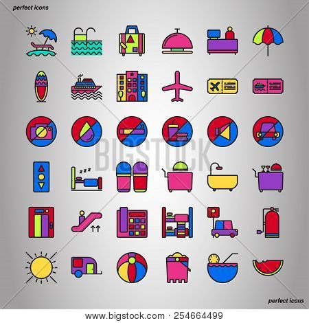 Holiday Color Line Icons Perfect Pixel. Use For Website, Template,package, Platform. Concept Object