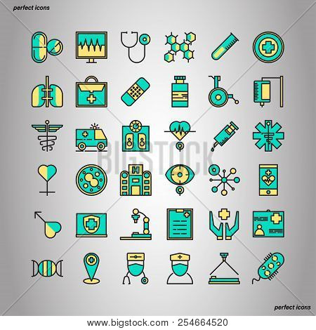 Medical And Healthcare Color Line Icons Perfect Pixel. Use For Website, Template,package, Platform.