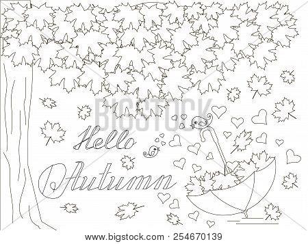 Monochrome Romantic Background With Maple Tree, Falling Maple Leaves, Umbrella, Love Birds, Letterin