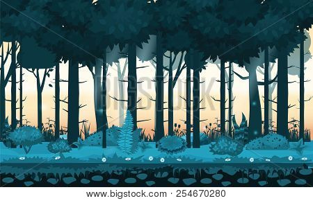 Fairy Forest. Bright Forest Woods, Silhouttes, Trees With Bushes, Ferns And Flowers. For Design Game