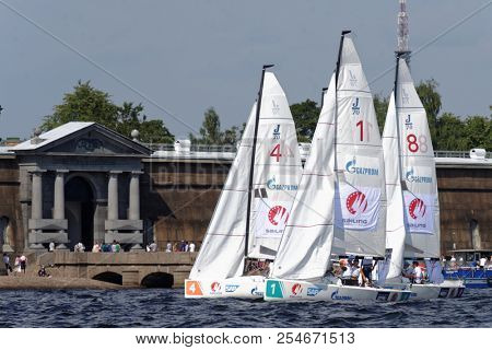 ST. PETERSBURG, RUSSIA - AUGUST 3, 2018: Teams from Sweden, Finland, and Norway compete in Semifinal 2 of Sailing Champions League. 25 sailing teams participate in the competitions