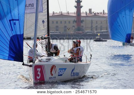 ST. PETERSBURG, RUSSIA - AUGUST 3, 2018: Team Asgardstrand Seilforening from Norway compete in Semifinal 2 of Sailing Champions League. 25 sailing teams participate in the competitions