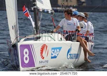 ST. PETERSBURG, RUSSIA - AUGUST 3, 2018: Team Tonsberg Seilforening from Norway compete in Semifinal 2 of Sailing Champions League. 25 sailing teams participate in the competitions