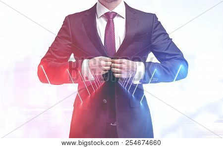 Unrecognizable Businessman Buttoning His Suit In Long Tunnel With Neon Lights. Concept Of Finding Yo
