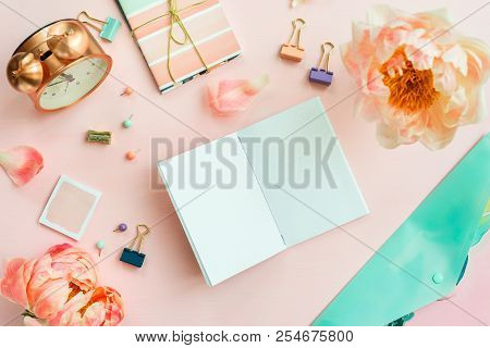 Empty Notebook For Writing Dreams And Ideas, With Different Stationery, And Big Pink Peony Flowers L