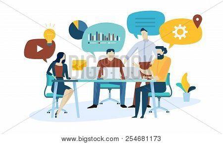 Vector Illustration Concept Of Market Research, Seo, Business Analysis, Strategy, Digital Marketing,