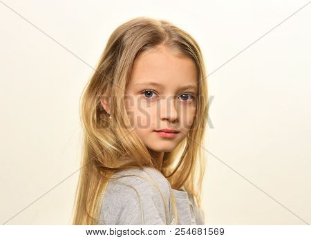 Small Blonde. Small Blonde Girl Isolated On White. Small Girl With Long Blonde Hair. Small Blonde Wi