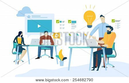 Vector Illustration Concept Of Content Management, Web Development, Seo, Social Network, Teamwork, C