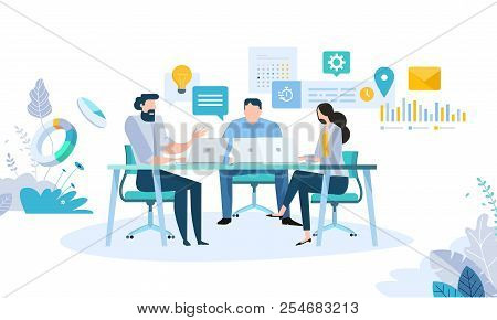 Vector Illustration Concept Of Business Workflow, Time Management, Planning, Task App, Teamwork, Mee