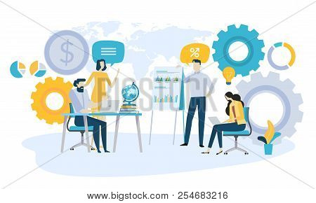 Vector Illustration Concept Of Global Investment, Market Trends, Economic Analysis, Startups. Creati