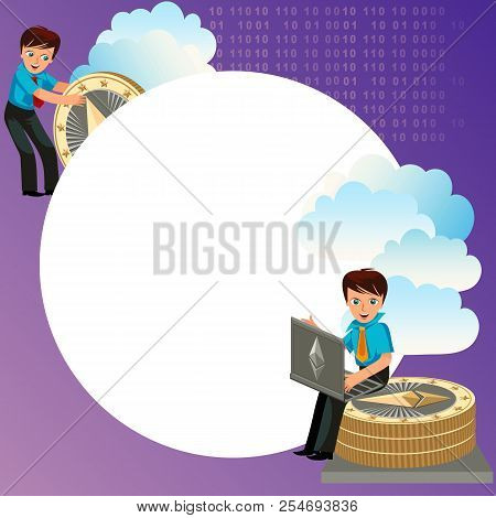 Man Holding Ether Golden Coin Flat Poster