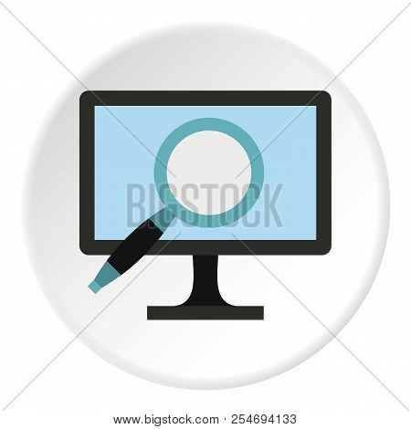 Finding Information On Computer Icon. Flat Illustration Of Finding Information On Computer Icon For