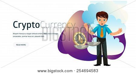 Cartoon Man Weighs Ether Crypto Currency Poster