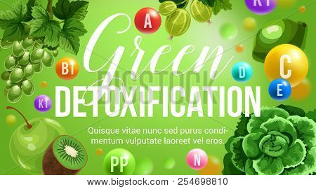 Green Diet Healthy Eating And Detoxification Nutrition Program. Vector Poster Of Vitamins And Minera