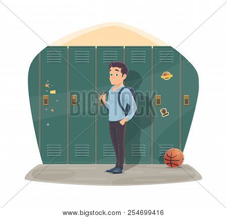 Pupil In Locker Room With School Bag And Basketball Ball. Vector Design For Back To School Season Of