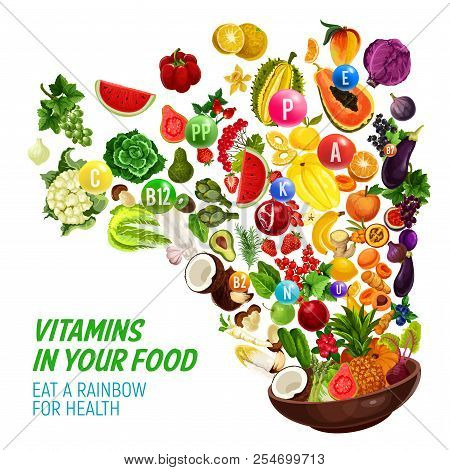 Rainbow Color Diet For Healthy Nutrition And Natural Food Eating Program. Vector Vitamins And Minera